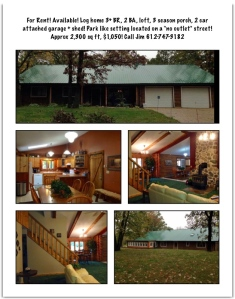 Park like setting surround this lovely Log home available for rent!